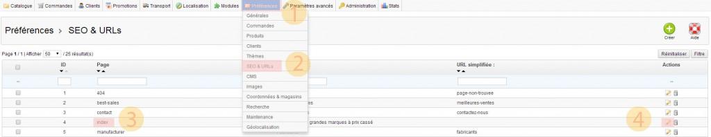 Modifier le méta title de la page d'accueil dans Prestashop