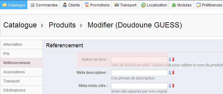 Modifier le méta title d'une fiche produit dans Prestashop