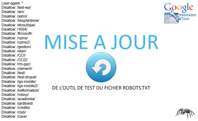 Mise à jour de l'outil de test du fichier robots.txt