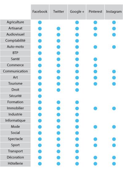 Réseaux sociaux par secteur d'activités