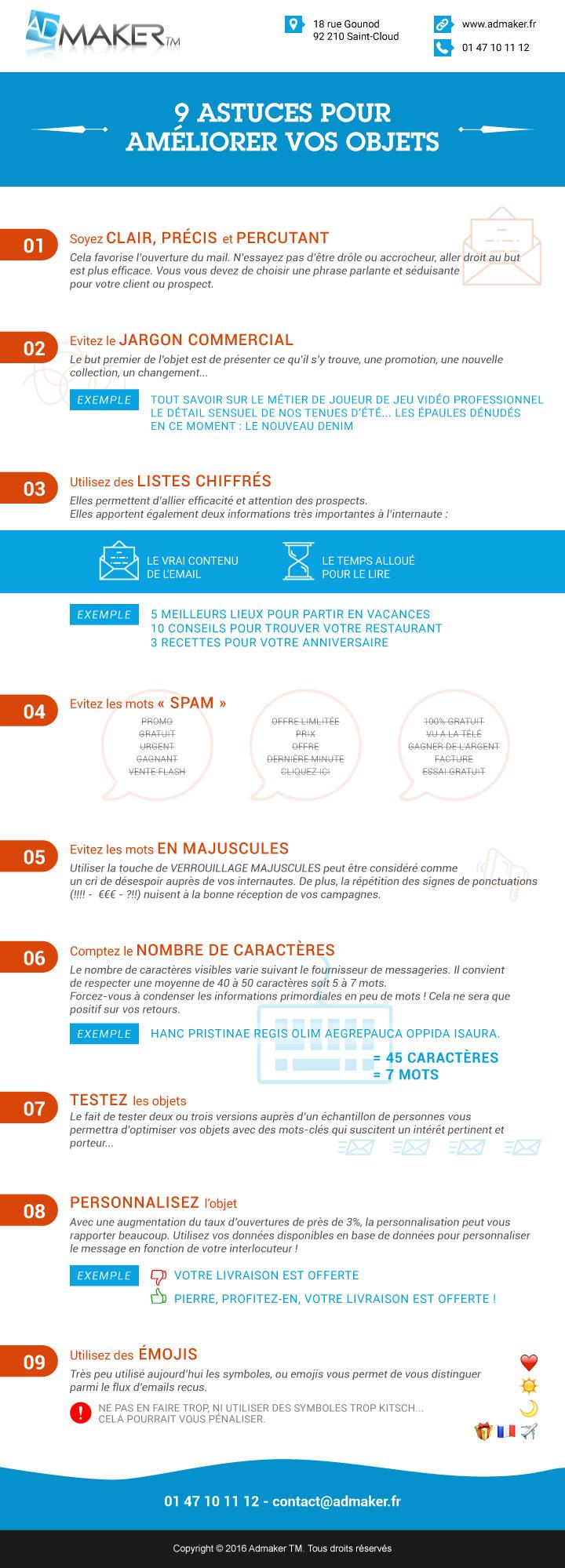 9 astuces pour vous permettre d'améliorer l'objet de vos e-mail