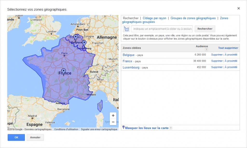 exemple de sélection de zones géographiques sur Google adwords
