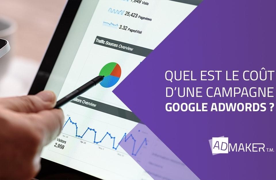 admaker agence digitale image à la une quel est le coût d'une campagne google adwords