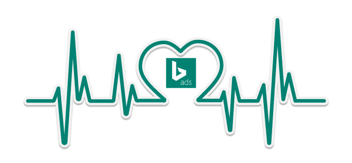 un cardiogramme formant un cœur avec en son centre le logo de Bing Ads