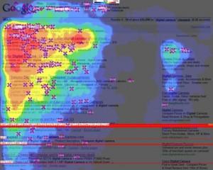 Exemple des zones les plus cliquées en première page des résultats de recherche Google