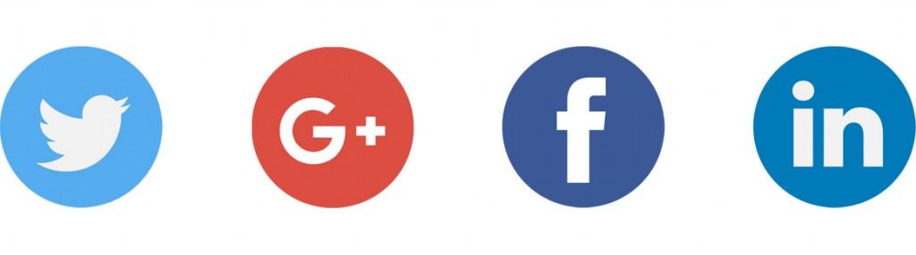 exemples de logos des réseaux sociaux twitter google plus facebook et linkedin