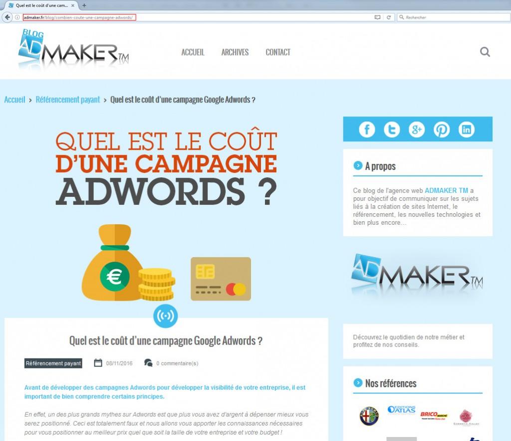 screenshot d'une page du site admaker mettant en évidence la partie visible des URL descriptives