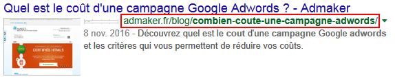 Une url descriptive pour un lien vers le site admaker visible dans la recherche google