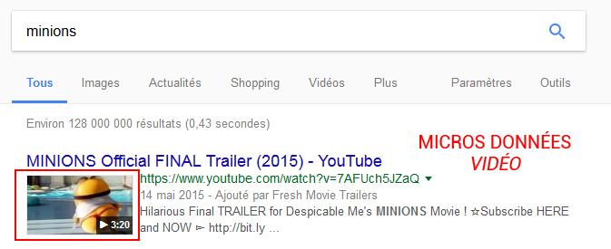 microdonnées d'une vidéo dans la page de résultat des moteurs de recherche
