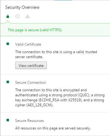 informations sur le protocole https utilisé par google