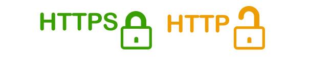 Logo vert du https avec un cadenas fermé et logo orange du http avec un cadenas ouvert