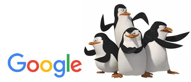 Logo de Google avec à côté les pingouins du film animé Madagascar