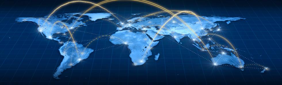 carte à plat du monde avec des connexions entre différents pays