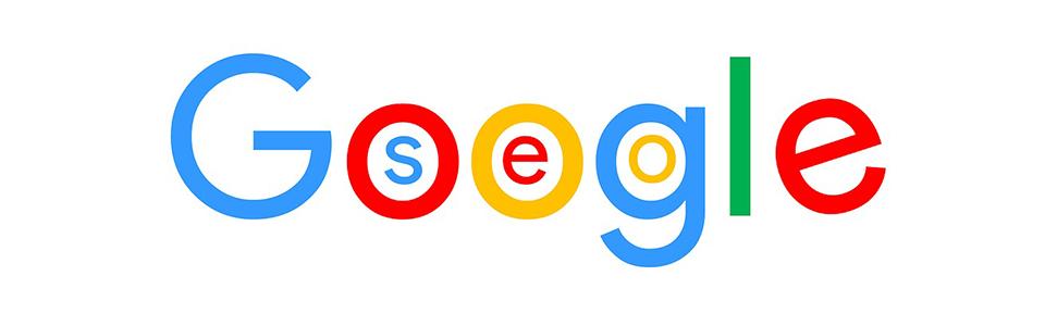 Logo de google avec les lettres SEO dans les lettres OOG de google