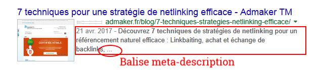 exemple d'une meta-description dans les résultats des moteurs de recherche