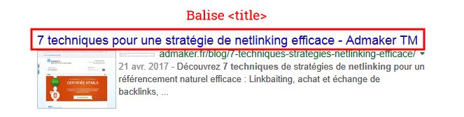 exemple de titre dans les résultats des moteurs de recherche