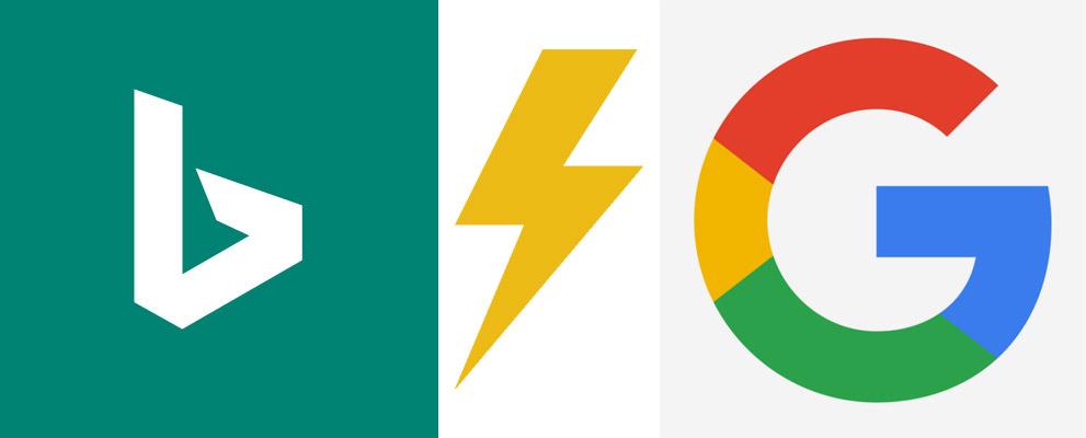 logo du moteur de recherche bing face au logo de google avec un éclair entre les deux