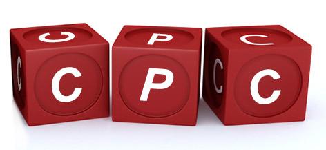 trois dés avec les c, p et c pour former l'abréviation de coût par clic