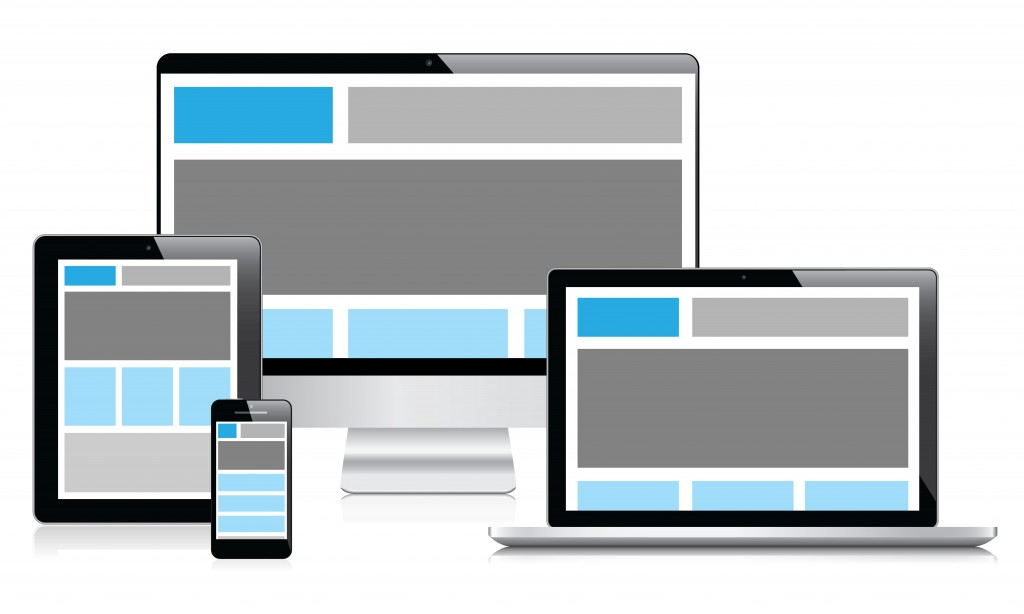 affichage d'un site responsive design sur différents supports (desktop, tablette, smartphone, ordinateur portable).