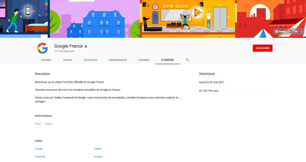 L'importance de l'onglet à propos d'une chaine youtube