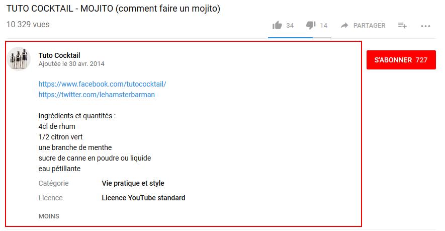 bien remplir la description de vos vidéos youtube
