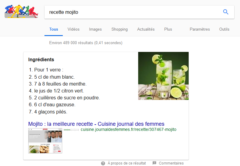 exemple d'une position 0 dans Google pour une recette