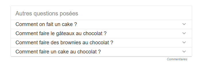 exemple du bloc autres questions posées dans les résultats de recherche Google