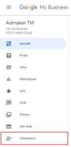 agence digitale admaker Ajouter des utilisateurs à votre fiche Google My Business étape 1