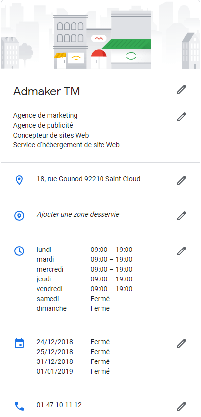 agence digitale admaker bien remplir les informations de votre établissement dans google my business