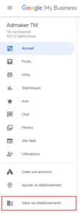 agence digitale admaker supprimer une fiche entreprise google analytics étape 1