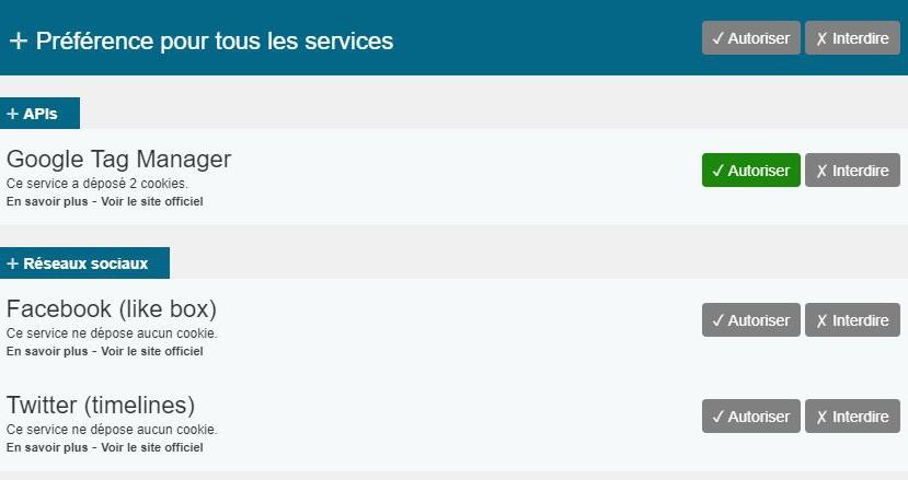 Exemple personnalisation des cookies site CNFCE